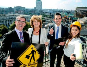 Pictured getting ready for the RDS event l-r, Tony Keohane, joint organiser of the event and Tesco Chairman with the Tánaiste/Minister for Social Protection, Joan Burton TD; Stephen Kirwan, a former participant on the JobBridge Scheme and now ActionCOACH advisor, and Siobhan McCullough, Communications executive.