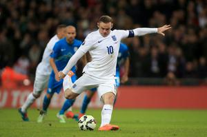 England's Wayne Rooney scores his side's first goal of the game from the penalty spot during the UEFA Euro 2016 Group E Qualifying match at Wembley Stadium