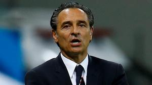 Former Italy coach Cesare Prandelli reacts during the 2014 World Cup match against England. REUTERS/Kai Pfaffenbach