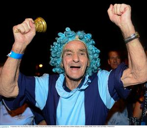 23 September 2013; Tony Brouchan, from Cabra, Dublin, during the homecoming celebrations of the All-Ireland Senior Football Champions. Merrion Square, Dublin. Picture credit: Paul Mohan / SPORTSFILE