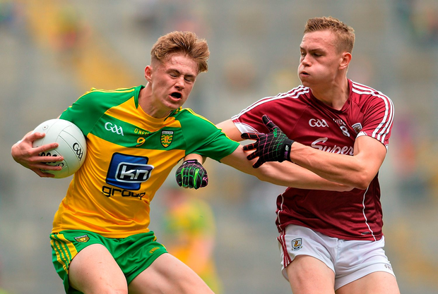 Kieran Gallagher of Donegal in action against Seán Raftery of Galway. Photo: Sportsfile