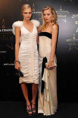 LONDON, ENGLAND - SEPTEMBER 19:  (L-R) Cara Delevingne and Georgia May Jagger attends the Moet & Chandon Etoile award ceremony to honour Mario Testino for his contribution to cultural society at Park Lane Hotel on September 19, 2011 in London, England.  (Photo by Ben Pruchnie/Getty Images)