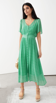 Midi green floral dress (€89) from & Other Stories