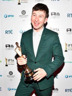 Ban: Barry Keoghan won best actor in a supporting role for 'The Killing of a Sacred Deer' at the Ifta Film and Drama Awards. Photo: Michael Chester