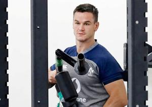 Ireland's Jonathan Sexton works out with teammates in Ichihara, near Tokyo, Monday, Sept. 16, 2019, ahead of the Rugby World Cup in Japan. (Kyodo News via AP)