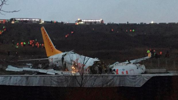 Plane appears broken after skidding off runway at Istanbul airport