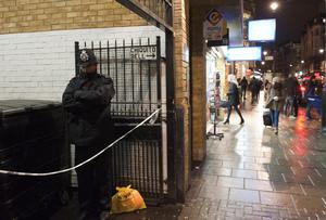 The scene close to Leicester Square in Central London where a body has been found