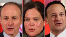 Micheal Martin, Mary Lou McDonald and Leo Varadkar. Photo: PA