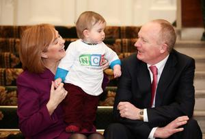 John Pollock, Project Director, Development Board and Eilísh Hardiman, CEO, Children's Hospital Group Board with Patrick Hempenstall (age 9 months). Picture: Conor McCabe