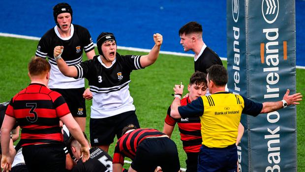Zia Ahmed of Newbridge College, centre, celebrates a turn-over during the Bank of Ireland Leinster Schools Senior Cup Second Round match between Kilkenny College and Newbridge College at Energia Park in Dublin. Photo by Piaras Ó Mídheach/Sportsfile