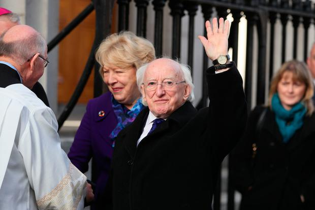 Irish President Michael D Higgins arrives for the funeral of the celebrated broadcaster Gay Byrne at St. Mary's Pro-Cathedral in Dublin. Brian Lawless/PA Wire