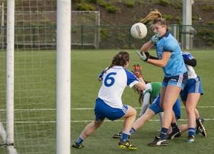 SCOOPED OVER: Dublin's Jennifer Dunne tries to palm over a point as Monaghan's Rosemary Courtney looks on during their LIDL NFL Division 1 Round 5 match at DCU last Saturday. Photo: Doug O'Connor