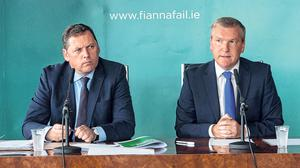Twitter fallout: Fianna Fail's Barry Cowen (left) made comments online, and Michael McGrath. Photo: Collins Photo Agency