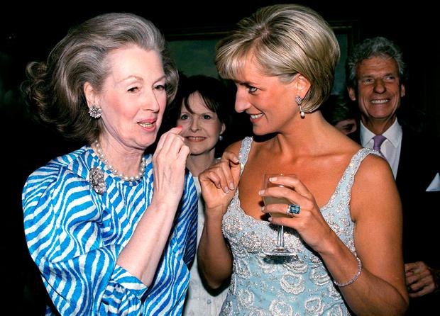 Princess Diana Talking With Raine, Comtesse De Chambrun (previously Her Stepmother, Countess Raine Spencer) At A Private Viewing And Reception At Christies Of Dresses Worn By The Princess That Are For Auction To Raise Money For The Aids Crisis Trust And The Royal Marsden Hospital Cancer Fund. (Photo by Tim Graham/Getty Images)