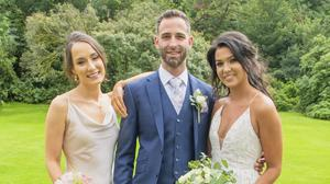 Newlyweds: Stephanie McCarthy (right), her husband Jan Reichle, and Rose of Tralee Sinead Flanagan, at Maryborough House Hotel, Co Cork.  PHOTO: Michael MacSweeney