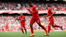 """Football - Liverpool v Aston Villa - Barclays Premier League - Anfield - 26/9/15 Liverpool's Daniel Sturridge celebrates scoring their third goal Action Images via Reuters / Carl Recine Livepic EDITORIAL USE ONLY. No use with unauthorized audio, video, data, fixture lists, club/league logos or """"live"""" services. Online in-match use limited to 45 images, no video emulation. No use in betting, games or single club/league/player publications.  Please contact your account representative for further details."""