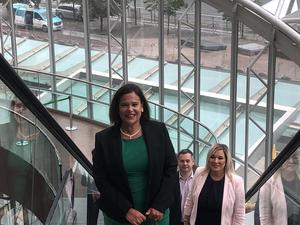 Sinn Féin President Mary Lou McDonald and deputy Michelle O'Neill arriving at the Convention Centre on Saturday Photo: Mary Lou McDonal/Twitter