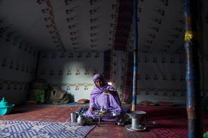 Woman preparing tea photographed at Smara Refugee Camp, Sahara.  Picture: Clare Keogh