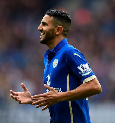 Leicester City's Riyad Mahrez celebrates scoring their second goal against Southampton yesterday
