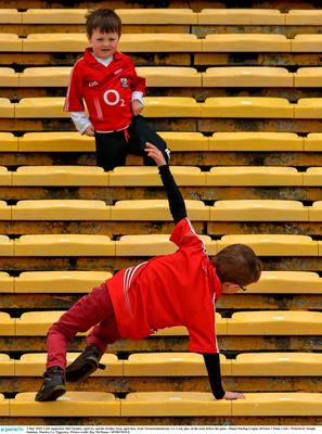 3 May 2015; Cork supporters Mel Twomey, aged six, and his brother Sean, aged four, from Newtownshandrum, Co. Cork, play on the seats before the game. Allianz Hurling League, Division 1 Final, Cork v Waterford. Semple Stadium, Thurles, Co. Tipperary. Picture credit: Ray McManus / SPORTSFILE