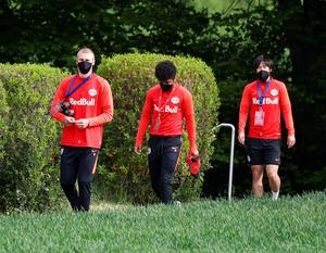 Red Bull Salzburg players return to training in Austria wearing protective face masks. Photo: Leonhard Foeger