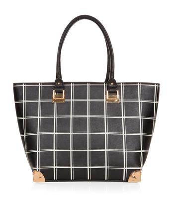 Structured grid print tote, €29.99, New Look
