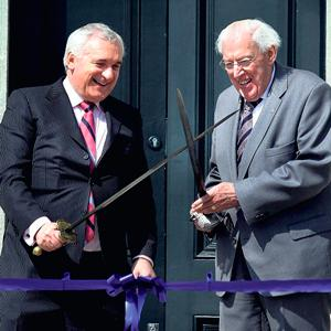 CROSSED SWORDS: Bertie Ahern and Ian Paisley Snr