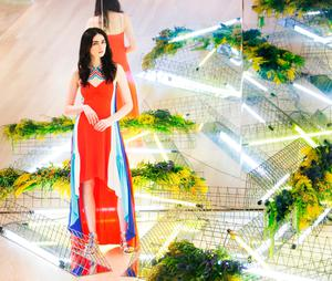 Maria Boardman wears Peter Pilotto dress €1,685 as she showcased the exciting new spring summer International Designer Collections at Brown Thomas. Picture: Leon Farrell / Photocall Ireland