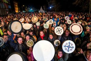 The NYF Bodhran Session World Record attempt at St Stephen's Green, part of the New Years Festival in Dublin. nyf.com running from 30th Dec to 1st Jan in Dublin