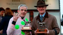 Jockey Ruby Walsh (left) and Trainer Willie Mullins (right) celebrate