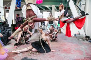 Members of the Guerilla Aerial pictured at the launch of the Electric Picnic line up in The Chocolate Factory in Kings Inn St