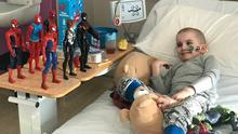 Epic battle: Auryn Phelan (6) from Malahide, Co Dublin, with some of his superhero toys