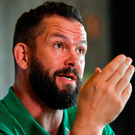 Ireland head coach Andy Farrell speaking at yesterday's press conference at The Campus in Quinta da Lago, Portugal. Photo: Brendan Moran/Sportsfile