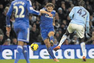 Chelsea's Branislav Ivanovic scores the only goal of last night's Premier League clash at the Etihad Stadium