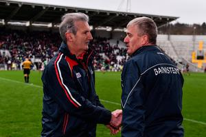 Cork manager Kieran Kingston, left, and Limerick manager John Kiely shake hands following the Allianz Hurling League Division 1 match at Páirc Uí Chaoimh in Cork. Photo: Sam Barnes/Sportsfile