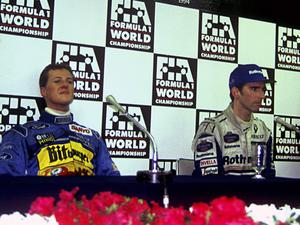 Michael Schumacher and Damon Hill at a post-race press conference in Adelaide following the controversial incident which helped the German win the 1994 title. Photo: GP Library/Universal Images Group via Getty Images