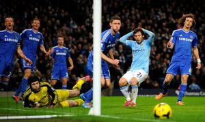 Manchester City's David Silva reacts after a missed chance