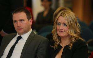 The parents of baby Mark Molloy, Mark Snr and Roisin Molloy, during the launch of a report in Dublin into the deaths of four babies at the Midlands Regional Hospital Portlaoise