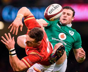 George North of Wales is tackled by Robbie Henshaw of Ireland during the RBS Six Nations Rugby Championship match between Wales and Ireland at the Principality Stadium in Cardiff, Wales. Photo by Brendan Moran/Sportsfile