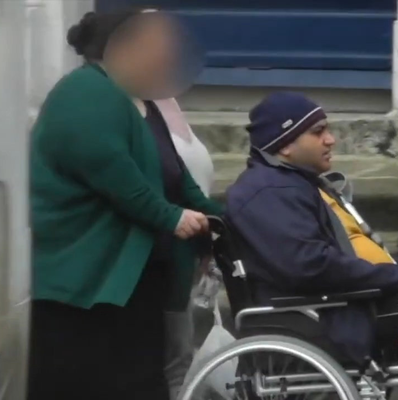 Constantin Iosca filmed in his wheelchair