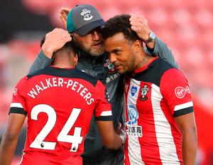 Southampton manager Ralph Hasenhuttl celebrates with Kyle Walker-Peters and Ryan Bertrand. Photo: PA