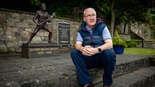 11-6-2020 Michael Walsh pictured at a statue of his father, famous hurler Ollie Walsh, in Thomastown Co. Kilkenny. Picture Dylan Vaughan.