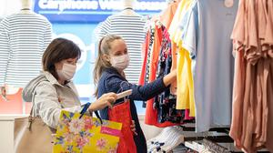 New rules: Estimates suggest more than 95pc of visitors to shopping centres are complying with the facemask law. Photo: Liam McBurney/PA Wire