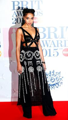Singer FKA twigs arrives for the BRIT music awards at the O2 Arena in Greenwich, London