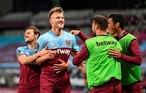 Andriy Yarmolenko celebrates after his late goal in West Ham's 3-2 win over Chelsea. Michael Regan/NMC Pool/PA Wire.