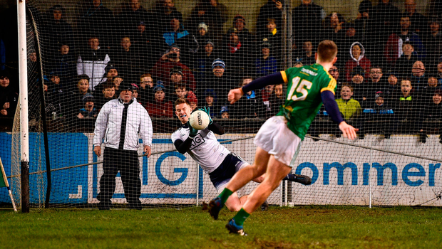 Dublin's Andy Bunyan saves Thomas O'Reilly's effort. Photo by Sam Barnes/Sportsfile