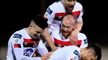 Jordan Flores of Dundalk, bottom, celebrates with team-mates, from left, Darragh Leahy, Chris Shields and Sean Hoare