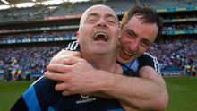 Anthony Daly celebrates Dublin's Leinster final victory over Galway in 2013 with Ryan O'Dwyer. Photo: David Maher / SPORTSFILE