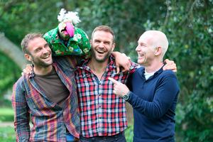 Dustin The Turkey and Ray D'arcy pictured in 2017 with Stephen and David Flynn of The Happy Pear