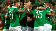 Republic of Ireland's Cyrus Christie celebrates with team-mates after scoring against Gibraltar